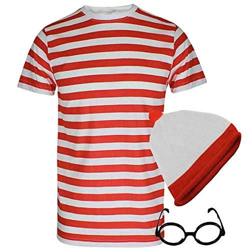 Juego de 3 piezas para hombre y mujer, diseño de rayas, color rojo y blanco, juego de ropa de fiesta