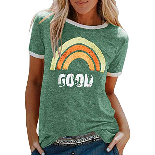 Lazzboy Women T-Shirt Good Rainbow Beach Print Tops Ladies Slouch Blouse(16,Green-Rainbow)