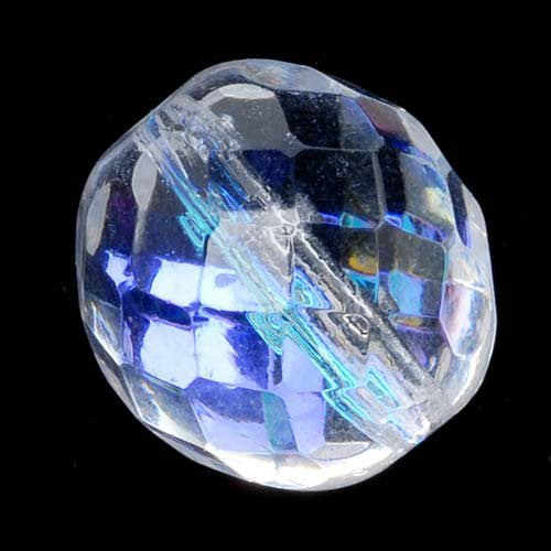 Czech Fire Polish Glass Beads 14 mm rotondo 'Crystal AB (8)