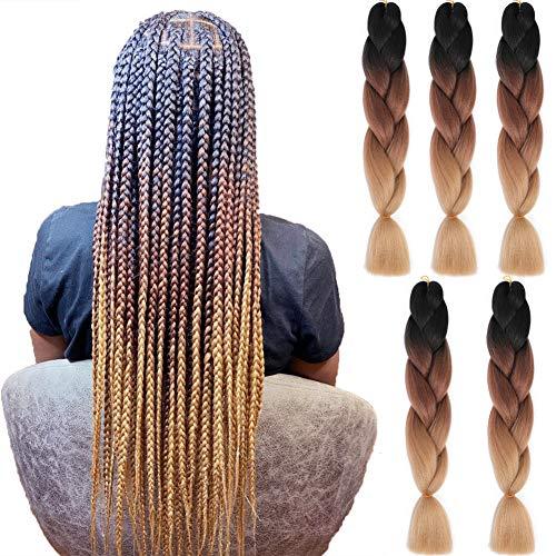 YOLAMI Ombre Braiding Hair 24inch Kanekalon Braiding Hair 5 Packs/Lot Jumbo Braiding Synthetic Hair Extensions For Box Braids(24inch (5 Packs/Lot), 1B/Dark Brown/Light Brown)