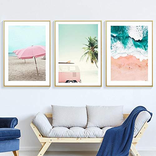 WENJING Ozeanwand Leinwand Malerei Zusammenfassung Moderate Drucke Nordic Scandinavian Home Decor Poster und Drucke Strandbilder Art-40X60Cmx3 Pcs No Frame