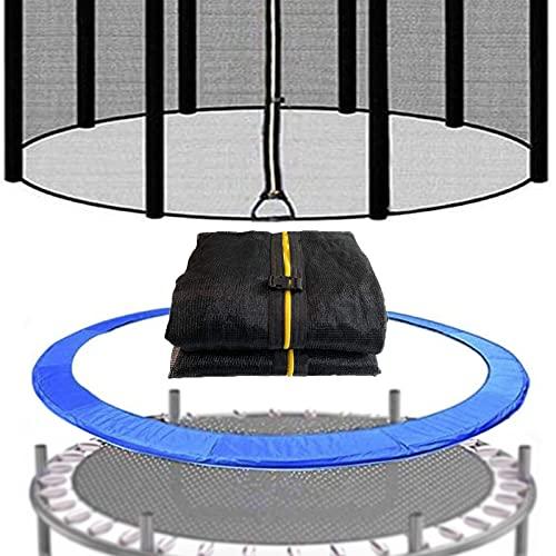 XIUWOUG Filet de Sécurité et Coussin de Protection de Ressorts pour Trampoline pour Trampolines Ø 366cm,Filet Trampoline de Remplacement (8 Barres) pour Trampoline Exterieur,366cm(8 Barres)*183cm