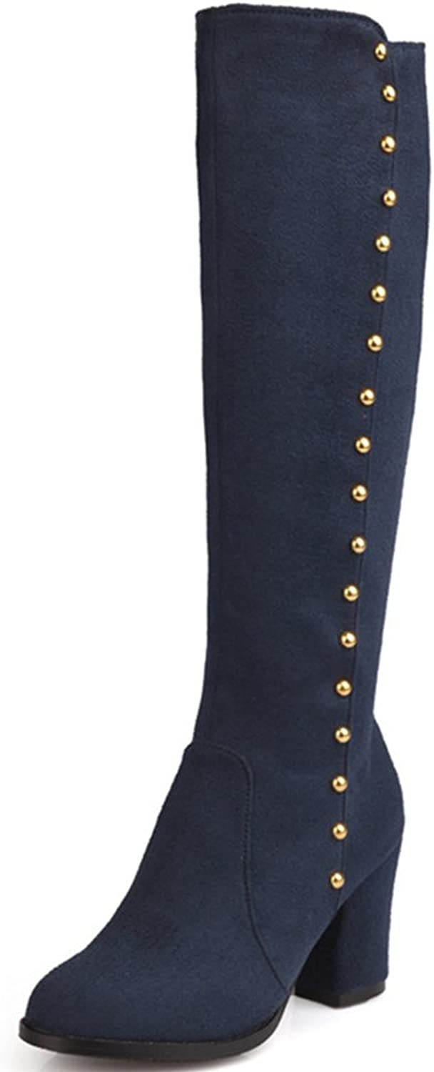 Fashion Heel Womens Chunky Heel Round Toe Rivets Above The Knee Boot Plus Size