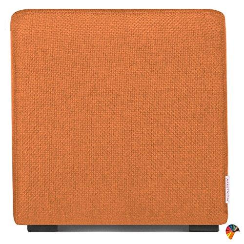 Arketicom Cube Pouf Poggiapiedi Salotto Puff CUBO TAPPEZZATO Arancione 35x35