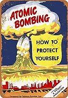 原爆投下ブリキサインヴィンテージノベルティおかしい鉄の絵の具金属板