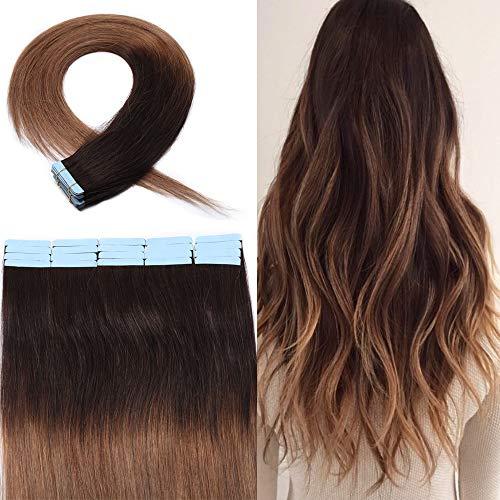 Extension Adesive Capelli Veri Biadesivo #2T6 Marrone Scuro Ombre Marrone Chiaro - Capelli Lisci Lungano 45cm, 2.5g/fascia 50g/pack - 100% Remy Human Hair Tape in Umani