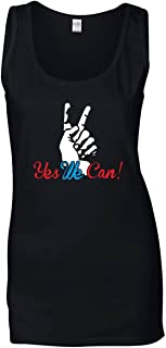 Speed Shirt Singlete para Las Mujeres Negro T0057 Yes We Can Politica