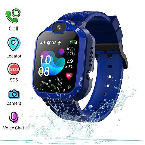 Winnes Inteligente Reloj para Niños, IP67 Impermeable Smart Watch Phone 2 Vías Llamada Reloj Niñas Localizador con SOS Anti-Lost Alarm Táctil Smartwatch para 3-12 Años De Edad (H1 Azul)