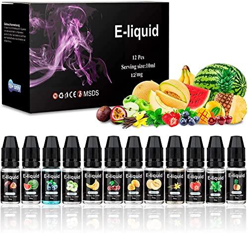 E-Líquido, Nuevos Sabores 12 X 10mL E Liquido Vaper Sin Nicotina, E-Liquid VG50/PG50, Set E-Líquido Para Cigarrillos Electrónicos/E Shisha/E Hookah (0,0mg nicotina)
