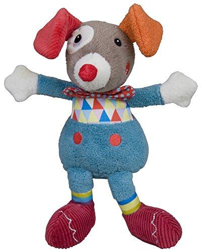 EBULOBO - DOUDOU Clown Gustave - Peluche Mixte Naissance - Collection The Magic Circus - Grelot dans le ventre - Matière Velours Ultra doux -27 cm