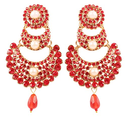 NEW! Touchstone Indian Bollywood Traditional Chaandbaali Half Moon Crescent Inspired Red Color Faux Ruby Pearls Designer Jewelry Chandelier Earrings In Antique Gold Tone For Women.