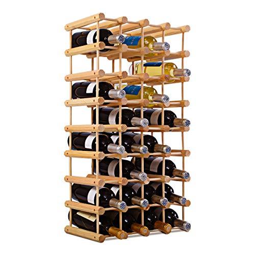 COSTWAY Weinregal 40 Flaschen, Flaschenregal Holz, Flaschenständer Natur, Weinflaschenhalter...