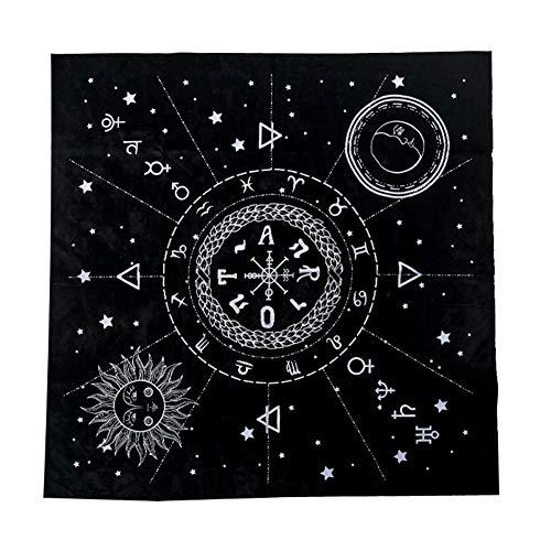 Ankoyion 1pc 49 * 49cm Tarot Tischdecke Zwölf Konstellationen Sonne Mond Pentagram Pagan Altar Divination Bord Spiel Tarot Tuch Flanell