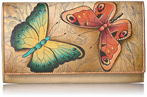 Anuschka Hand Painted Leather | RFID Blocking Two Fold Wallet/Clutch | Earth Song