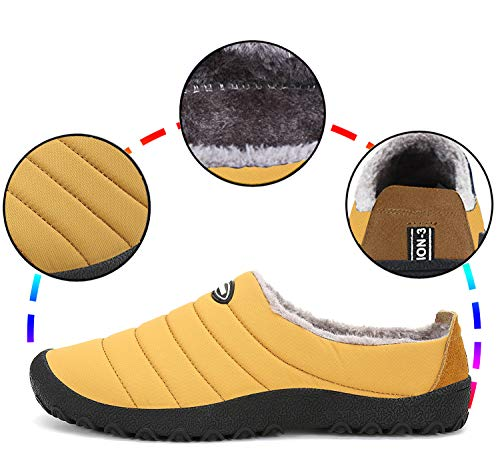Gaatpot Unisex Adulto Invierno Zapatillas de Casa Antideslizantes Cálido Fluff Pantuflas Zapatos de Casa Interior Suave Algodón Zapatilla Amarillo 37EU