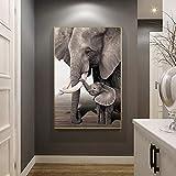 QZROOM Retro Elefante bebé Elefante Animal Entrada Impresiones y póster Lienzo en Blanco y Negro Cuadro Decorativo de Pared para Sala de estar-60x100cm-sin Marco