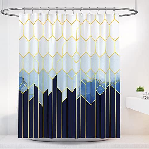BTTN Duschvorhang mit geometrischem Farbverlauf, blau-weiß, wasserdicht, Polyester, schnelltrocknend, Anti-Schimmel-Beschwerungs-Saum, Gardinen mit 12 Duschvorhanghaken für Badezimmer, 180 x 180 cm