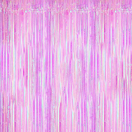 Neon Gold and Purple Foil Fringe Curtain - XtraLarge, 3.2x10 Feet | Pack of 1 | Metallic Purple Streamers Party Decorations | Gold and Purple Tinsel Backdrop for Birthday, Bridal Shower, Mermaid Party