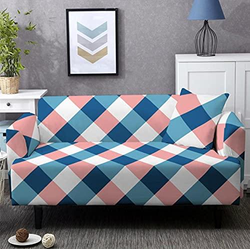 Fundas de Sofá Elastica 4 PlazasTela Escocesa Rosa Azul Funda Cubre Sofa Regalar 2 Funda de Cojines Funda para Sofá Funda de sofá de Sillón Antideslizante Protector Cubierta de Muebles