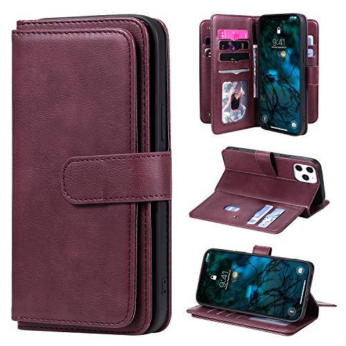 LODROC iPhone 12 Pro Max Hülle, TPU Lederhülle Magnetische Schutzhülle [Kartenfach] [Standfunktion], Stoßfeste Tasche Kompatibel für Apple iPhone 12 Pro Max - LOKT0200069 Rotwein