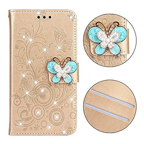 HHF - Accesorios para teléfono móvil para Huawei P30 Pro lite, diseño de mariposa con purpurina, para Huawei P30 Pro lite (color: oro joyado, material: P30)