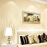 Papel pintado no tejido, diseño de ondas minimalistas de lujo para paredes de salón, dormitorio, 0,53 m x 10 m (32,8 pulgadas) = 5,3 pies cuadrados (color crema)