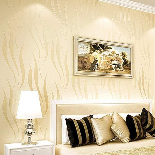 Niet-geweven behang, luxe minimalistische golf stroomden behang rollen voor woonkamer slaapkamer muren 0.53 m (20.8 inch) * 10 m (32.8 ) = 5.3? (57 vierkante voet) (crème kleur)
