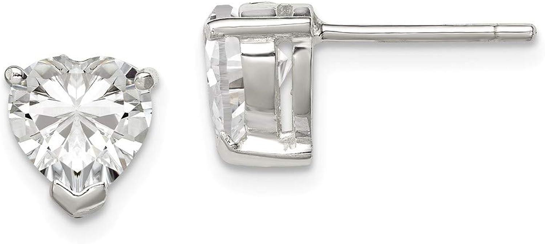 Beautiful Sterling silver 925 sterling Sterling Silver 7mm Heart Basket Set CZ Post Earrings