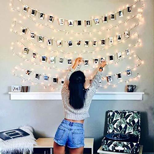 Luci Led Con Kit Per Foto JP-LED® 【10M 100 Led】Catena Luminosa Portafoto【Con 50 Mollette e 20 Chiodi】Stringa Di Luci Decorative Per Camera,Sorprese,Regali,Anniversario,Compleanno,Feste