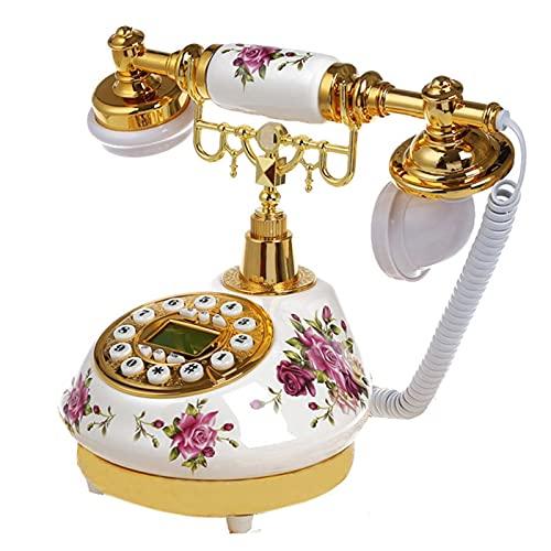 BTMING Antiguo Cerámica Home Landline Decor Retro Escritorio Teléfono Moda Moda Moda Antigua Teléfono Oro Identificación de Llamada de Llamada Floral