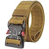 HotYou Cinturón Táctico, Cinturón Militar de Nailon de Táctico Resistente con Correa de Metal de Liberación Rápida Para Equipo EDC Molle Táctica Cinturón,Marrón,L*W:49 Pulgadas*1.57 Pulgadas