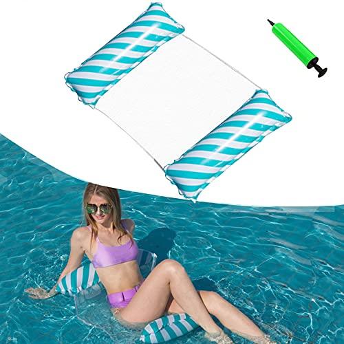 Aufblasbares Schwimmbett, Wasser Hängematte, Pool-Hängematte 4-in-1-luftmatratze Pool Erwachsene Pool Stuhl Aufblasbare Schwimmende Strand-Liege für Erwachsene und Kinder (Blau)
