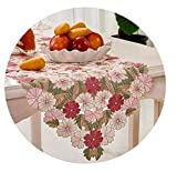 Modern Satin Embroidered Flower lace Christmas Table Runner Towel Cover Cloth Tea Tablecloth Mantel Nappe Wedding Home Decor,38X135cm,Pink