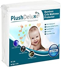 Crib Mattress Protector 100% Waterproof, Hypoallergenic, Without Vinyl – Bamboo Quilted Ultra Soft White Terry Fitted Sheet Style (Crib)