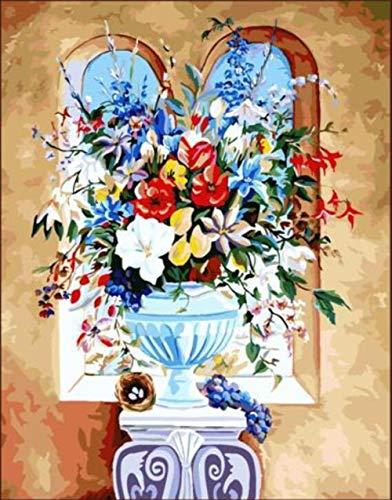 ARTEZXX DIY Olie Verf door Numbers Kits - Kristallen vaas, gekleurde bloemen Canvas Olieverfschilderij voor Volwassenen en Tekenen Beginner met Borstels - 16x20 inch Zonder Frame