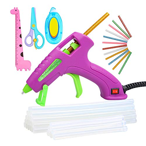 E.Durable Mini Glue Gun Tool Kit Kids Friendly with Glue Sticks for School Projects, DIY Crafts, Delicate Items Like Foam, Thermocal, Floral, etc (30W)