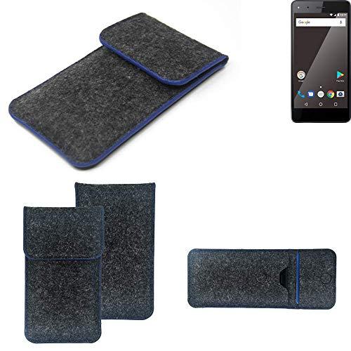 K-S-Trade Handy Schutz Hülle Für Blaupunkt SL 01 Schutzhülle Handyhülle Filztasche Pouch Tasche Hülle Sleeve Filzhülle Dunkelgrau, Blauer Rand