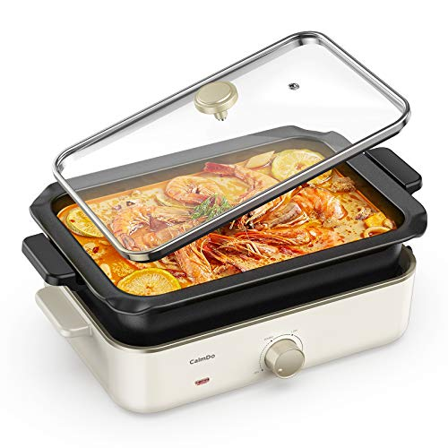 CalmDo Electric Foldaway Skillet Grill Combo, Roast, Fry, Grill and Stew with Nonstick Pan, Precise...