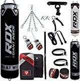 RDX Sac de Frappe Rempli Lourd Punching Ball MMA Muay Thai Kickboxing Arts Martiaux Gants Boxe Chaine Suspension Plafond Punching Bag, 13PC, 4ft 5ft