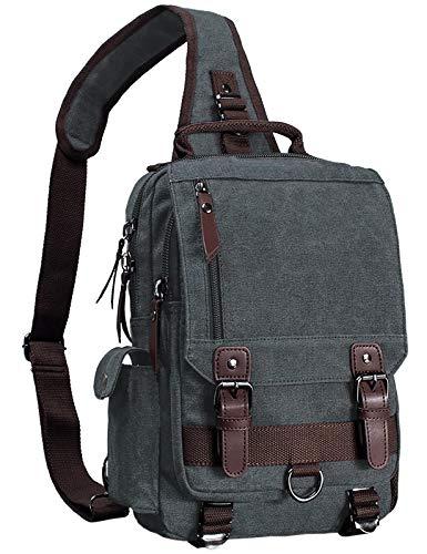 Mygreen Canvas Crossbody Bag Sling Bag Sling Rucksack Brusttasche Unisex Umhängetasche Outdoor schwarz