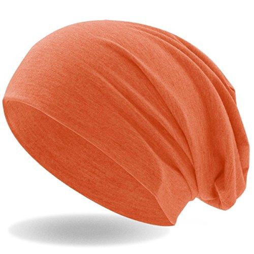 Hatstar Klassische Jersey Slouch Long Beanie Mütze, leicht und weich, Reversible Bicolor für Damen und Herren (Neon Orange)
