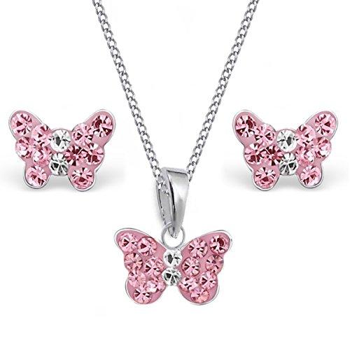 Mini Kristall Schmetterling Anhänger + 38cm Kette + Ohrstecker 925 Echt Silber Kinder Mädchen (Rosa)