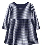 Moon and Back by Hanna Andersson Girls' Toddler Organic Cotton Long Sleeve Knit Dress, Navy, 2T