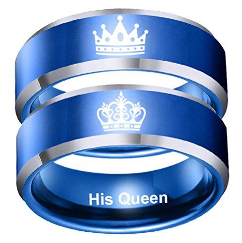 Blue Her King His Queen - Anillo de acero inoxidable para parejas, compromiso, boda, aniversario, Navidad, San Valentín, Acero inoxidable,