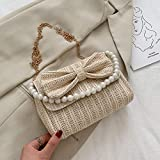 Bolso Redondo de la Paja Bolso De Paja Mujer Perla Solo Hombro Bolso Cuadrado Pequeño Bolso Diagonal De Playa Tejido Salvaje
