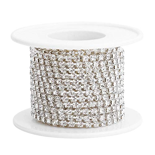 Demiawaking Haîne de Griffe de Chaîne de Strass en Cristal étroitement pour la Couture d'artisanat de Bijoux 5yard / roll Chaîne Blanche AB Robe de Mariée (Argent)