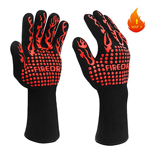 FIREOR BBQ Grill Gloves, 1472°F Extreme Heat Resistant Grilling Gloves Non-Slip Oven Mitts Potholder, Perfect for Barbecue, Cooking, Baking, Fireplace, Smoker - 1 Pair