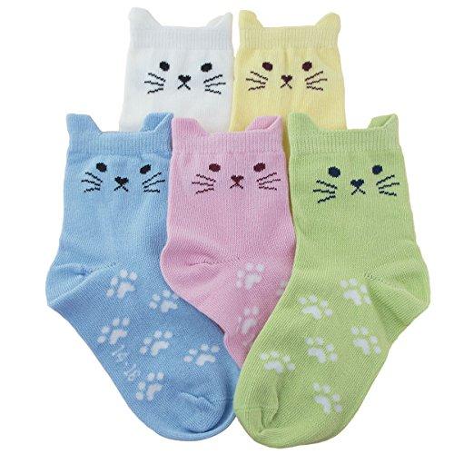 Tandi Kids Girls Cotton Novelty Cats Crew No Seam Socks - 8-11 Years/Little Kid 12M-2/18cm-20cm - Multicoloured (5 Pair)