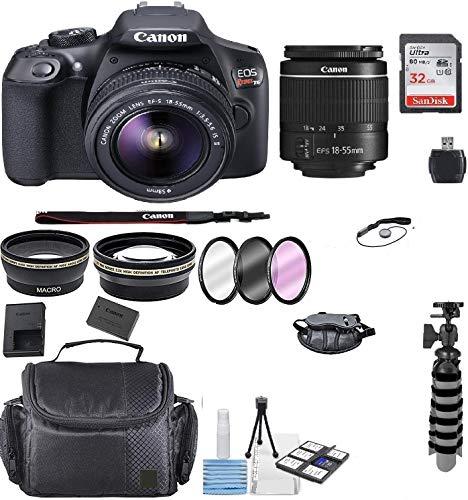 Canon EOS T6 SLR Camera w/EF-S 18-55mm F/3.5-5.6 III Zoom Lens+ Case+ Flex Tripod+ 32gb+ More + TopKnotch Deals Cloth (International Model) Bundle