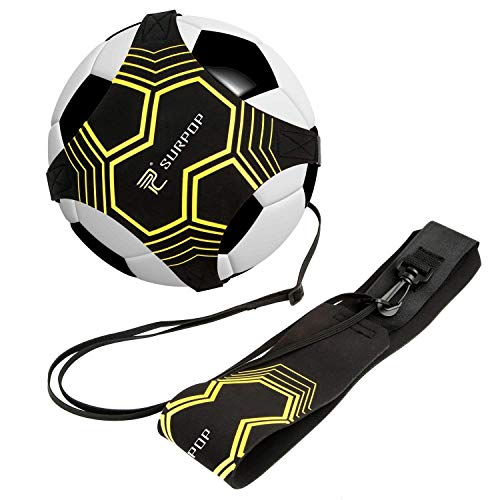 Surpop Soccer/Volleyball/Rugby Trainer, Football Kick Throw Solo Practice Training Aid Control Skills Adjustable Waist Belt for Kids Adults